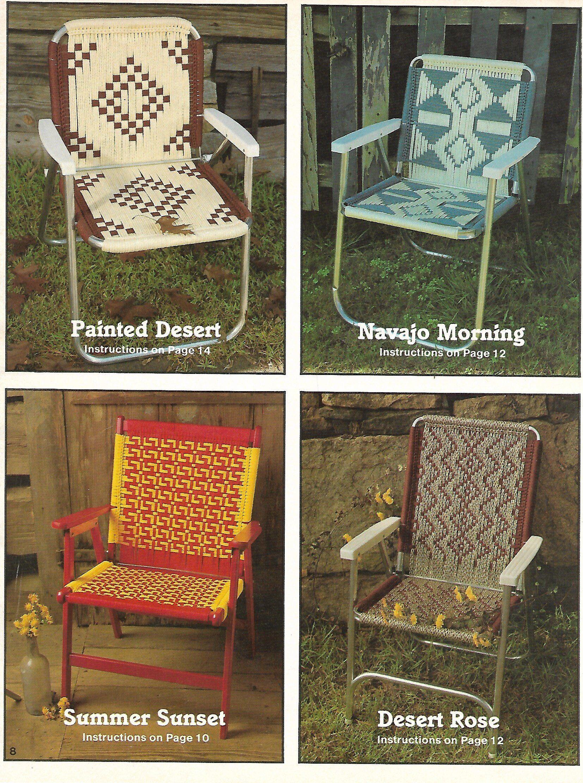 Navajo Sunset Macram 233 Deck Chair Southwest Macrame Patio