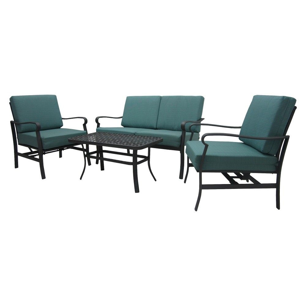 Hawthorne 4-Piece Metal Patio Conversation Furniture Set - Blue - Threshold