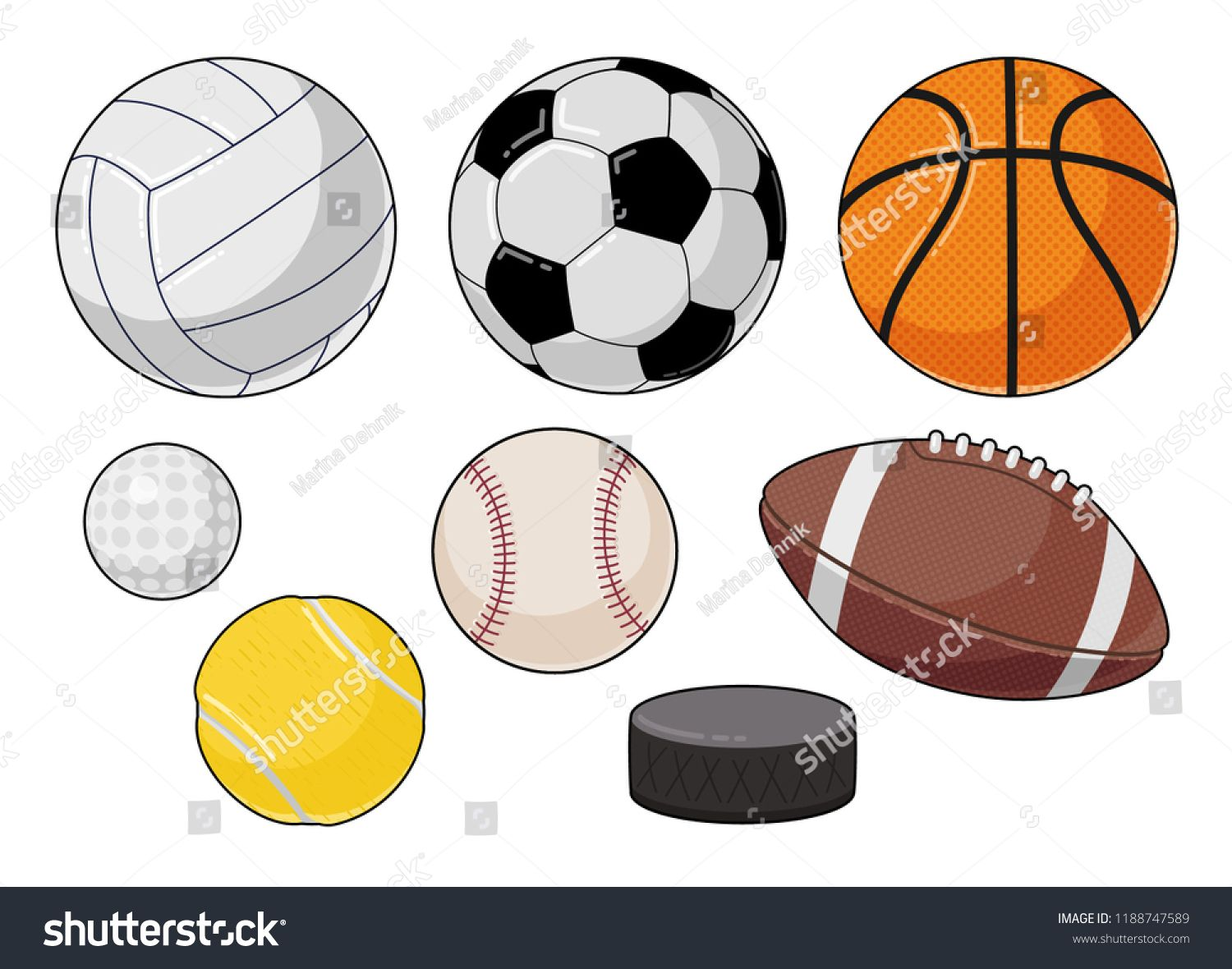 Vector Cartoon Sports Balls Set Royalty Free Image Vector In 2020 Sports Balls Sports Vector
