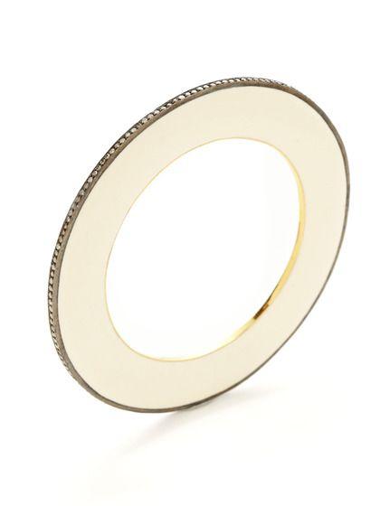 Champagne Diamond & White Enamel Bangle Bracelet