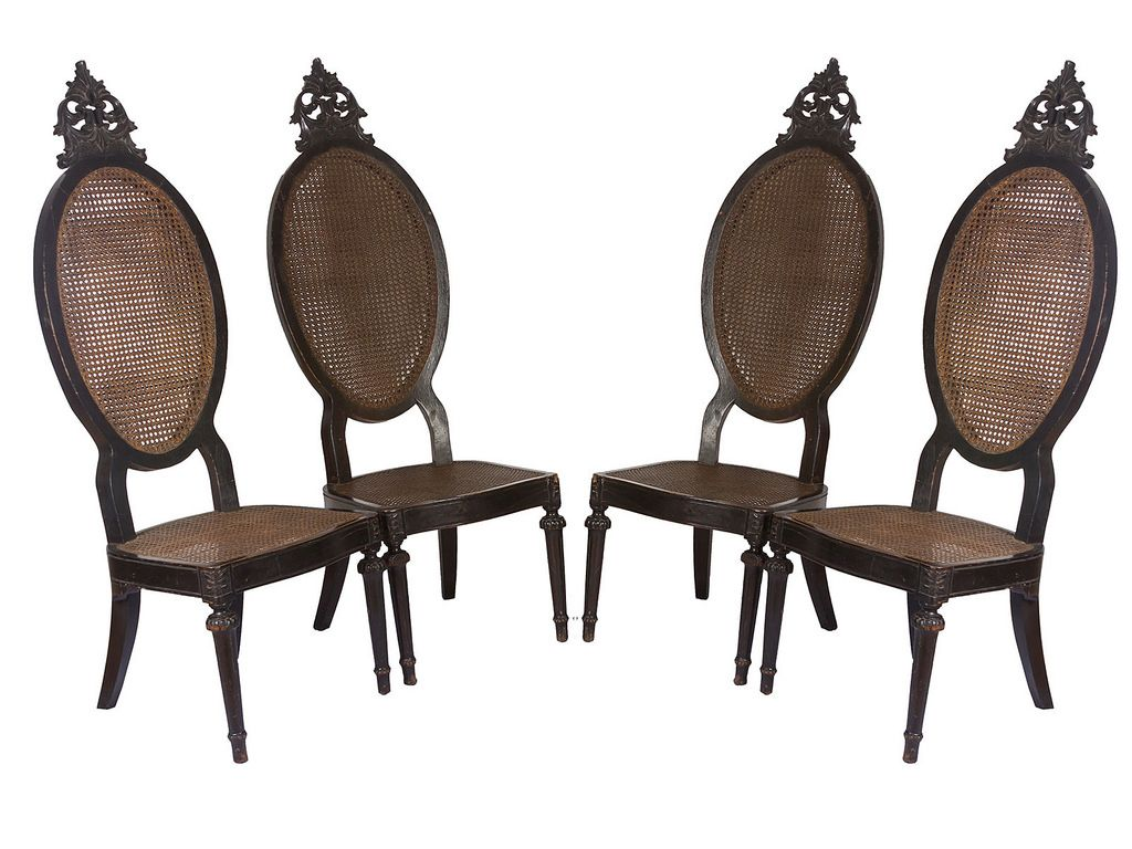 A Rare And Elegant Set Of Four Bishop Chairs Early 20th Century.