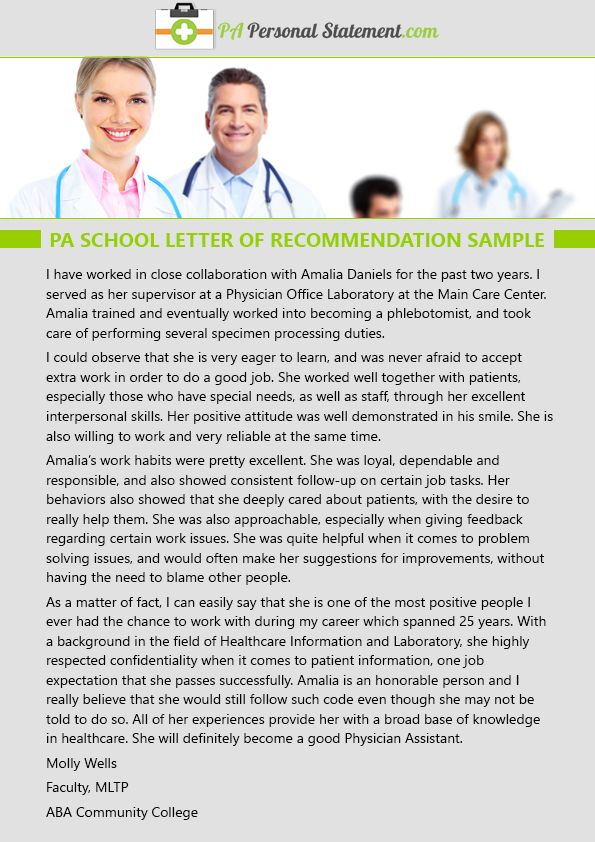 pin by pa personal statement examples on pa school letter of recommendation sample