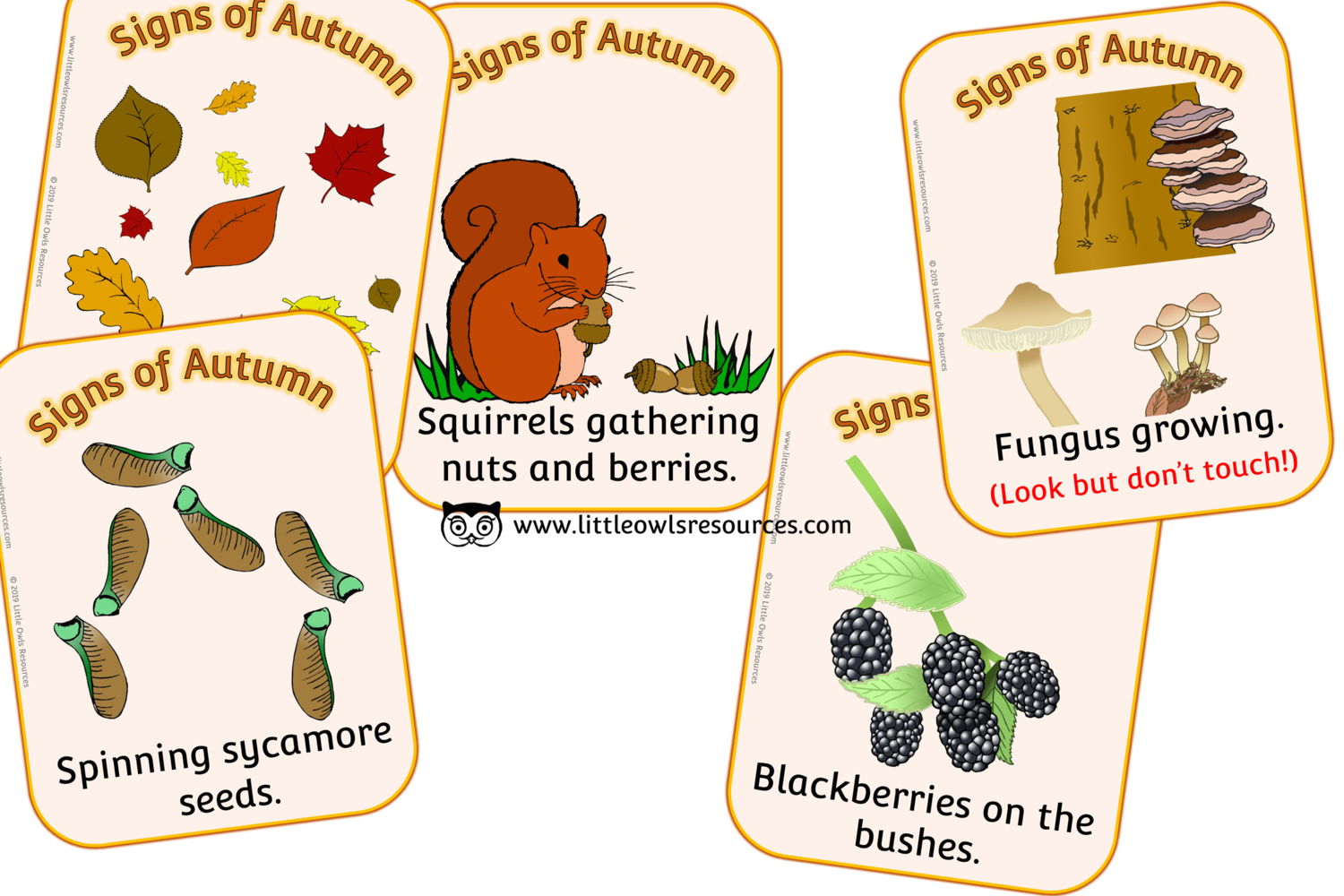 Free Signs Of Autumn Cards Printable Early Years Ey Eyfs