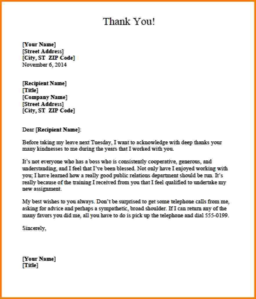 thank you letter bossss templateg sample boss free documents – Thank You Letters to Boss
