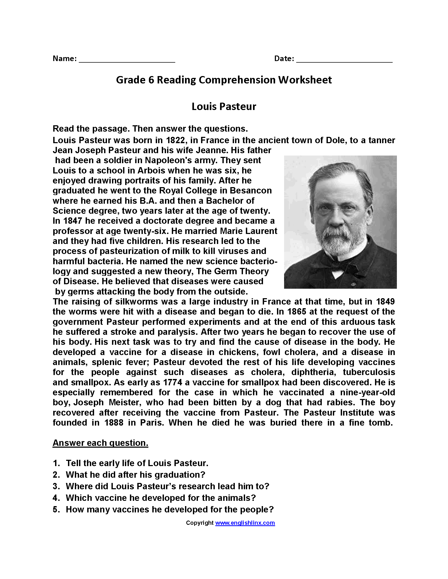 Louis Pasteur\u003cbr\u003eSixth Grade Reading Worksheets   Reading comprehension  worksheets [ 2200 x 1700 Pixel ]