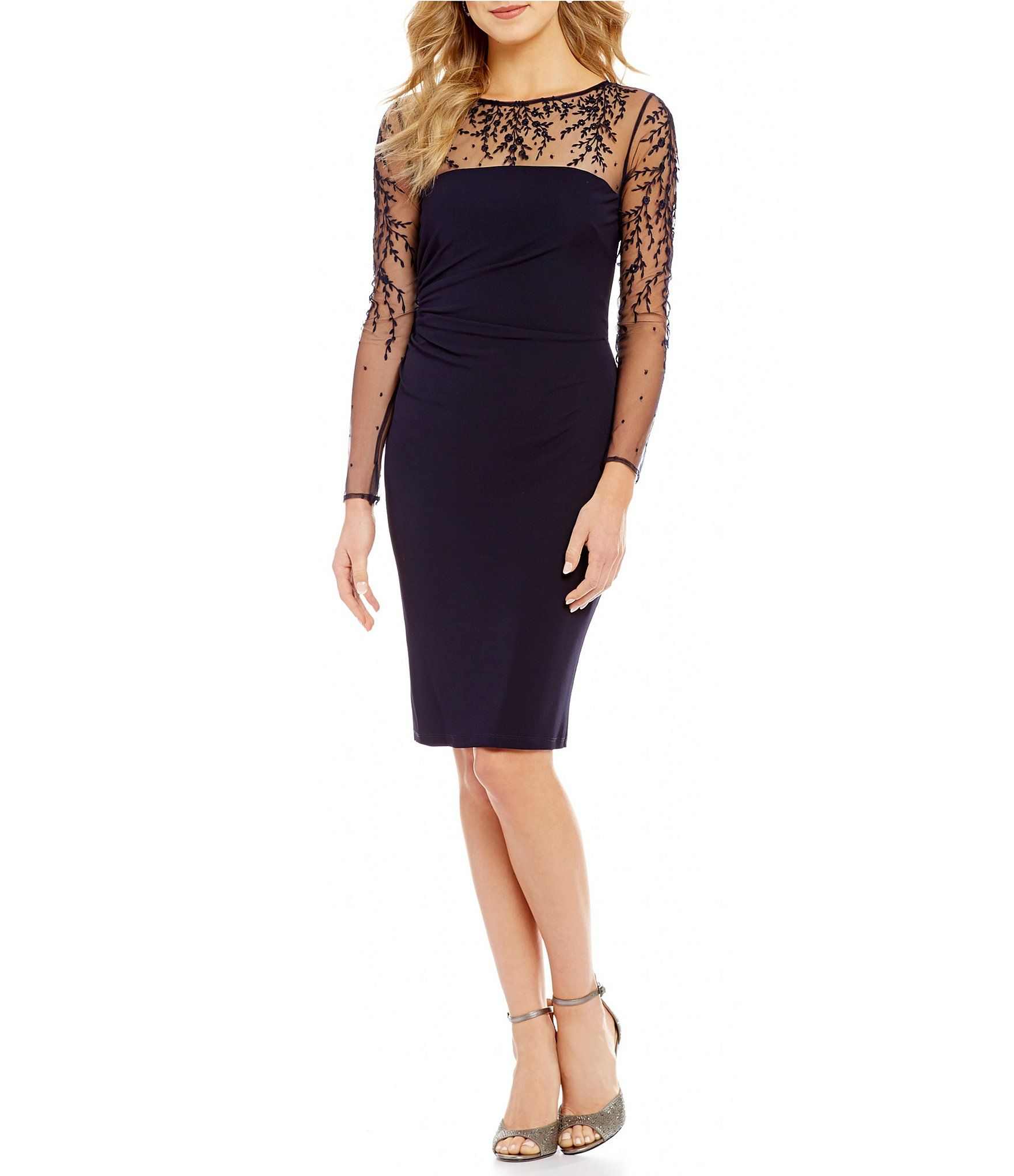 Shop for David Meister Embroidered Illusion Sheath Dress at Dillards ...