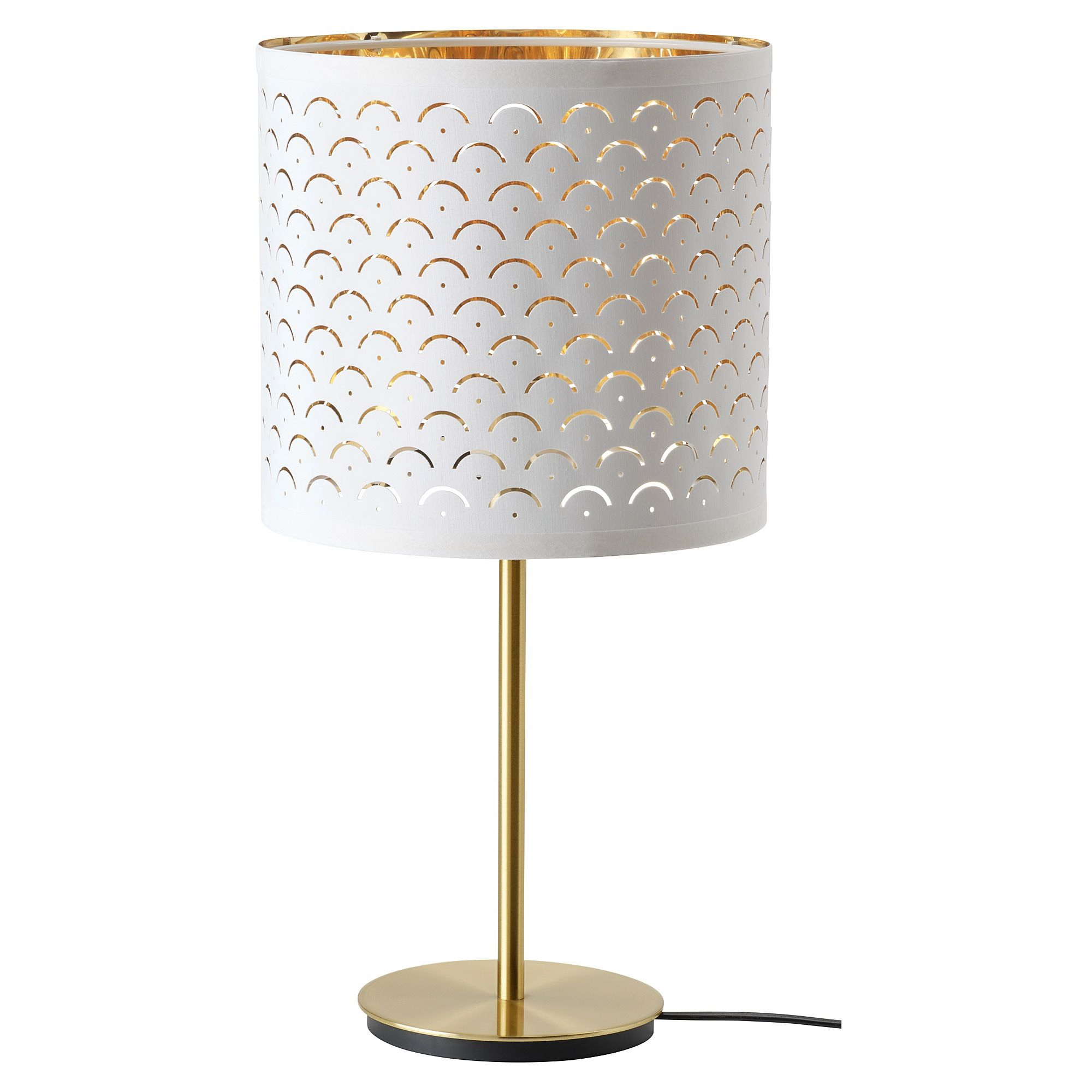 Nymo Skaftet White Brass Brass Table Lamp 24x30 Cm Ikea In 2020 White Table Lamp Lamp Table Lamp