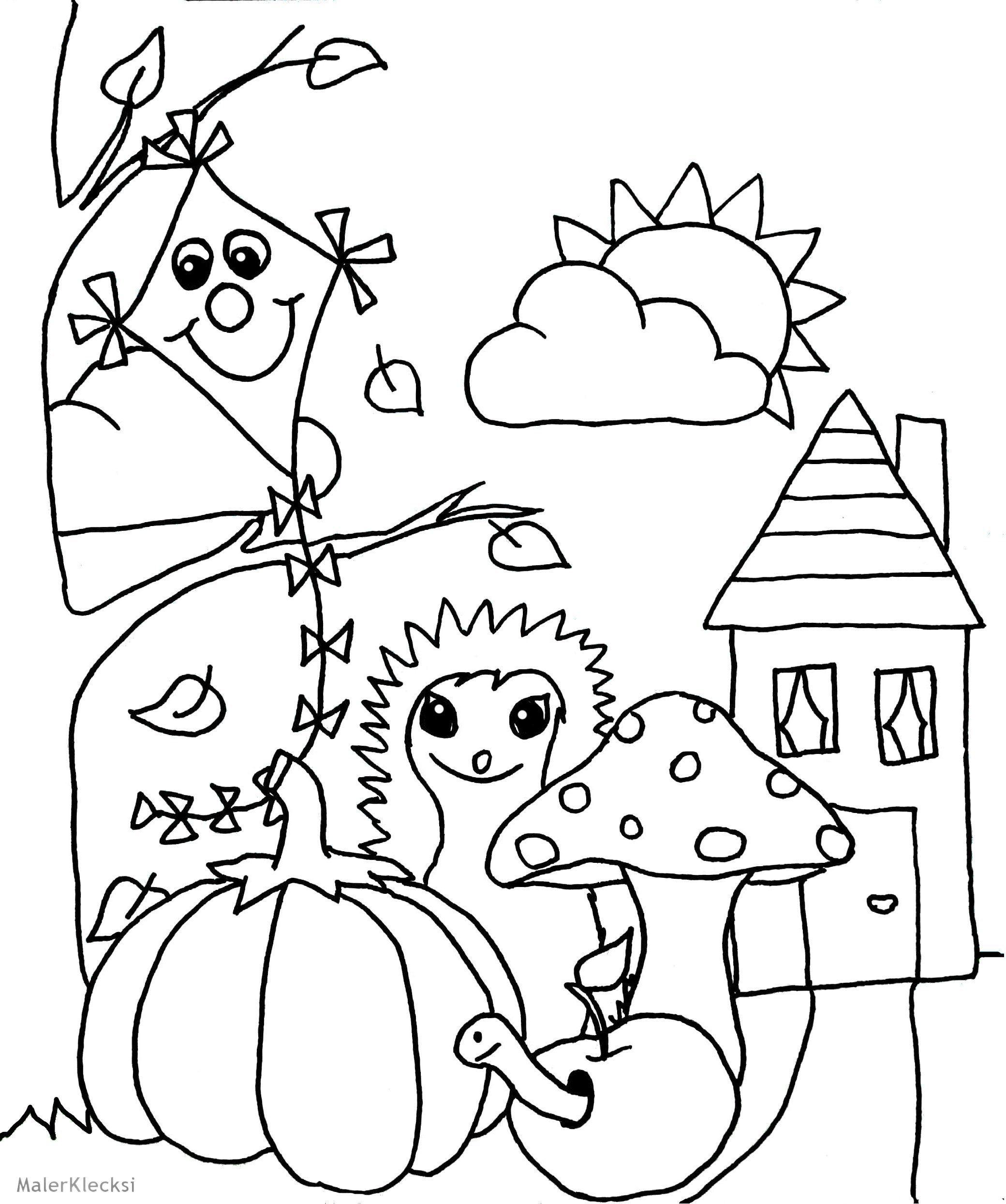 Ausmalbild für Kinder   Herbst   MalerKlecksi ...