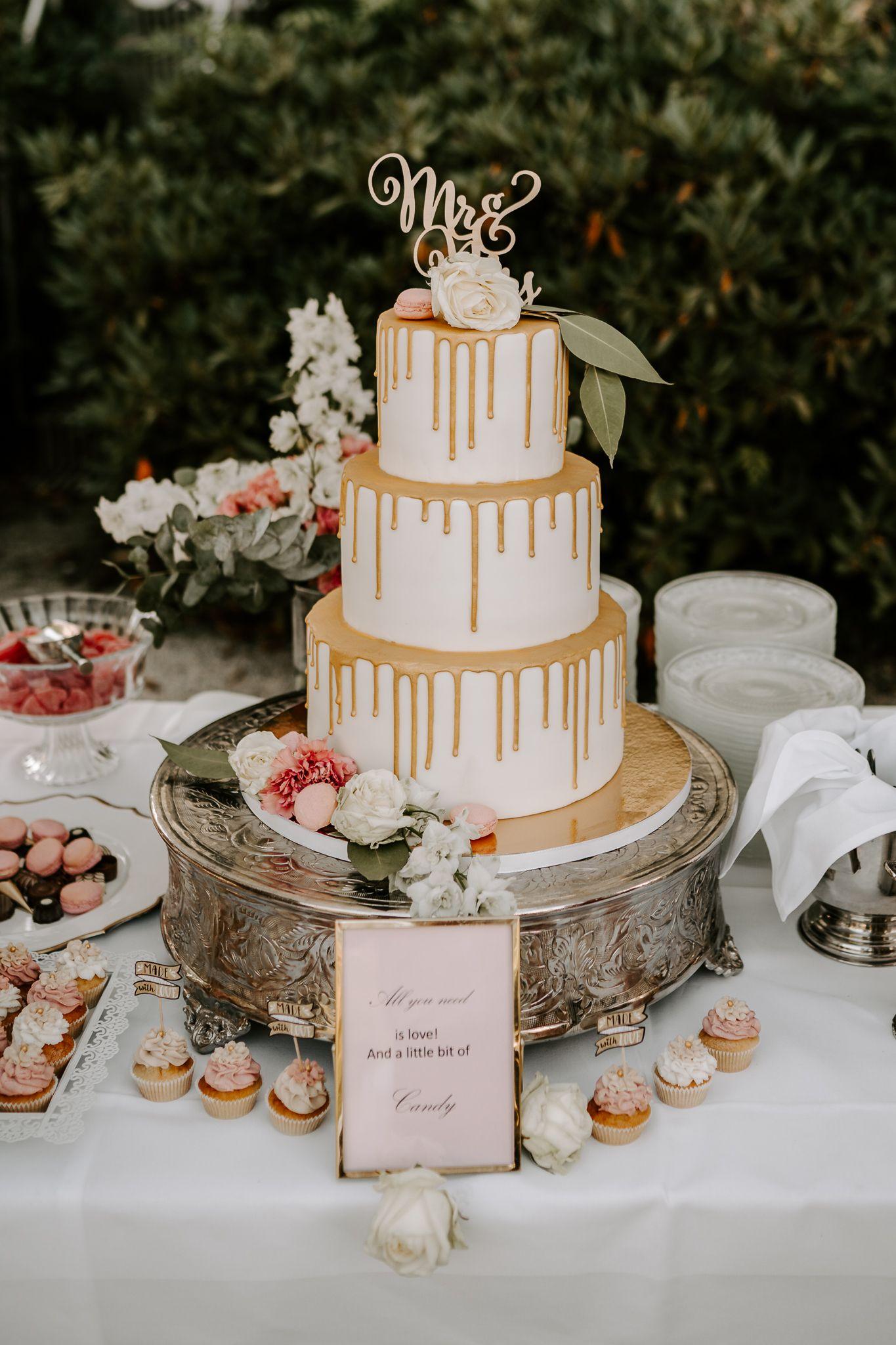 Gold-Apricot-Rose Color Concept Wedding   Hochzeitstorte