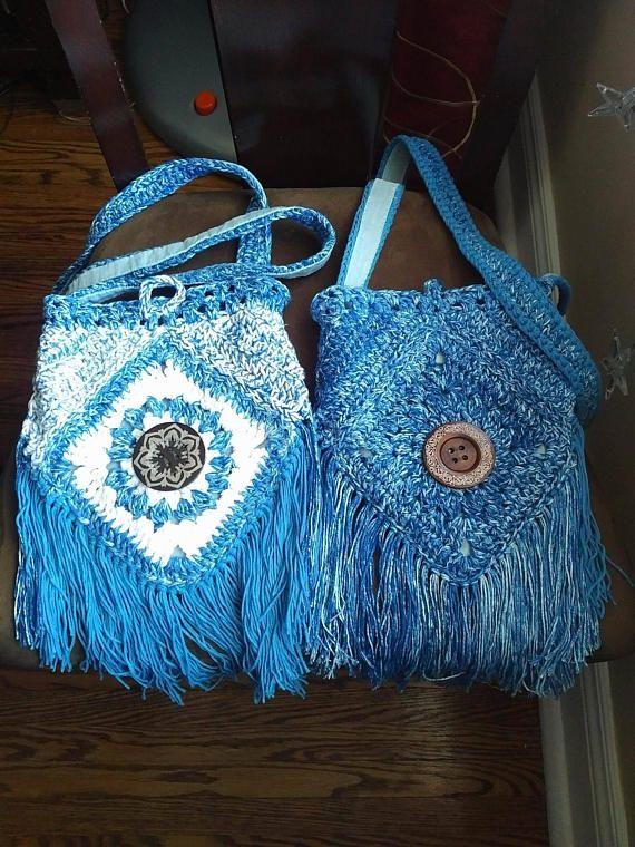 dc9653e026e4 Urban Gypsy Boho Bag Fringe Purse Crochet messenger bag