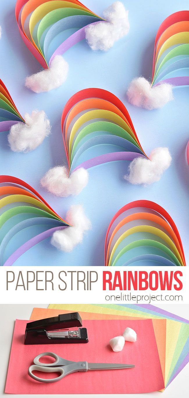 Photo of How to Make Paper Strip Rainbows | Construction paper crafts, Rainbow crafts, Paper strips