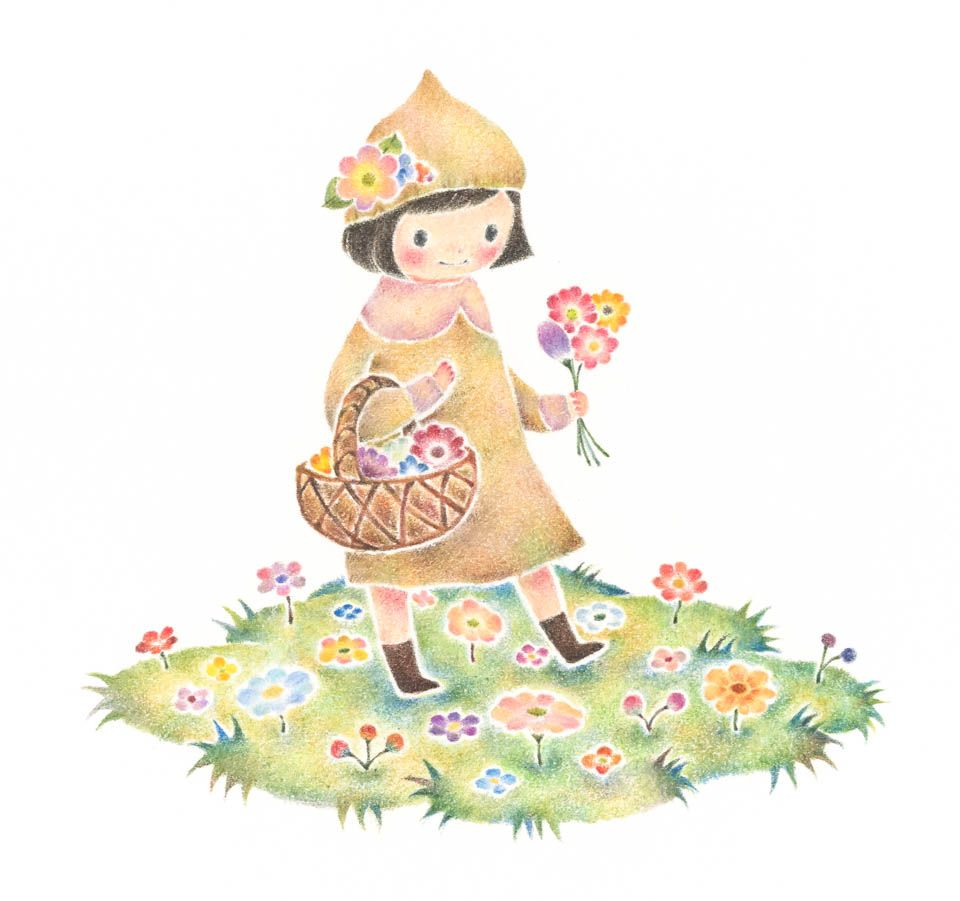 Little Girl Has Flowers Rili Picture Book Illustration