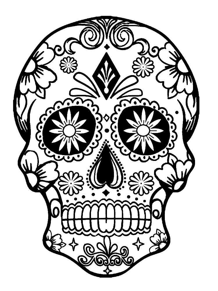 Sugar Skull Kresleni Pinterest Skull Coloring Pages Coloring