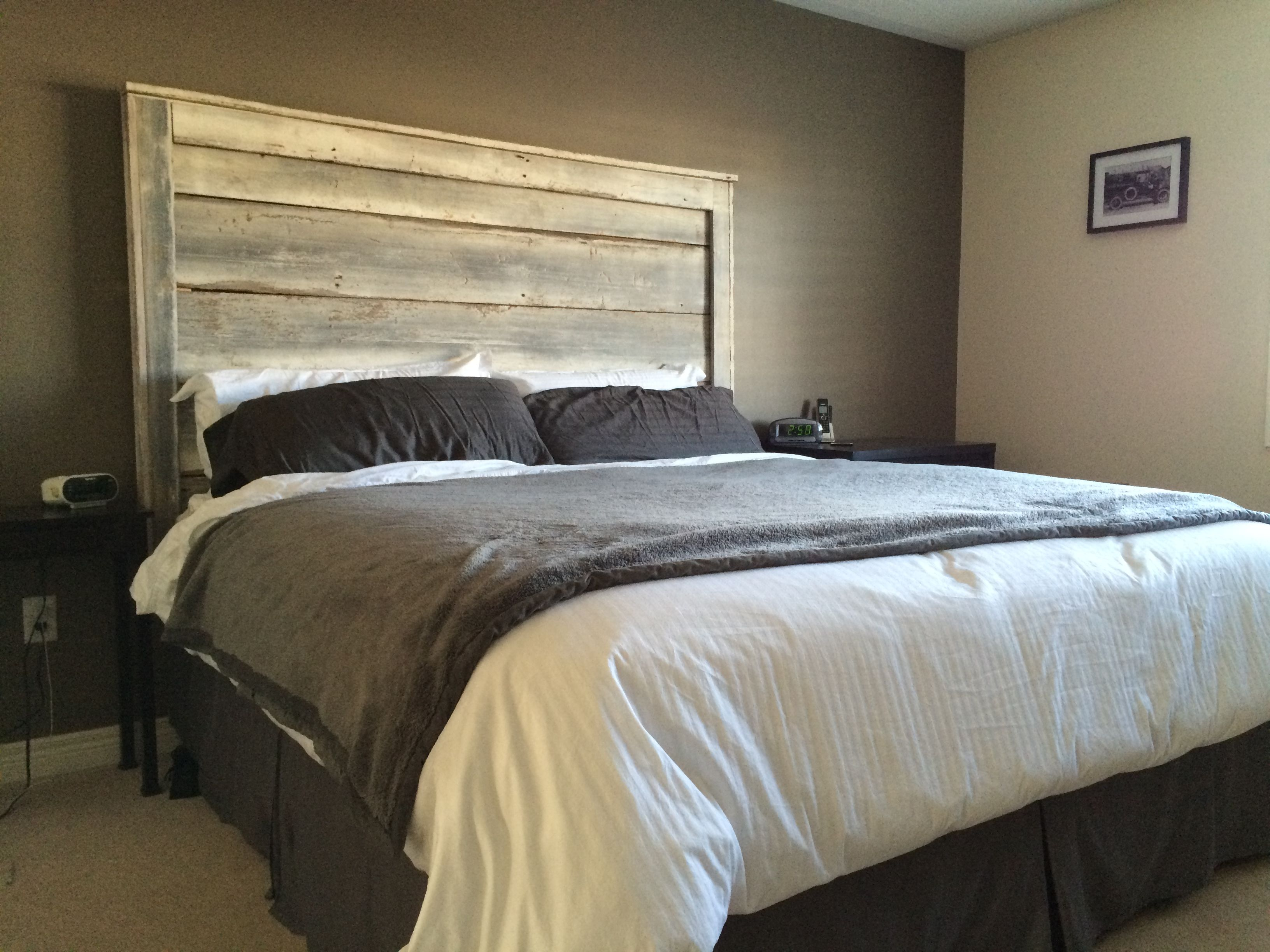 whitewash headboard fabricated by barnboardstore client