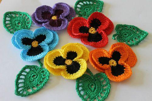 pansies SUMMER CROCHET COTTON FLOWERS APPLIQUE EMBELLISHMENT card ...