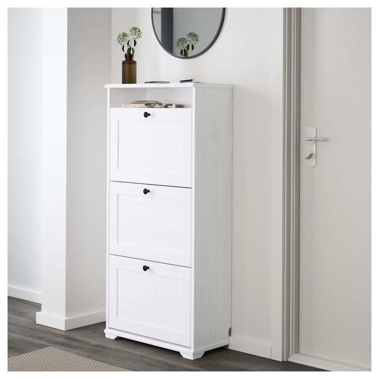 Brusali Shoe Cabinet With 3 Compartments White Ikea Ikea Brusali Ikea Shoe Cabinet Shoe Cabinet