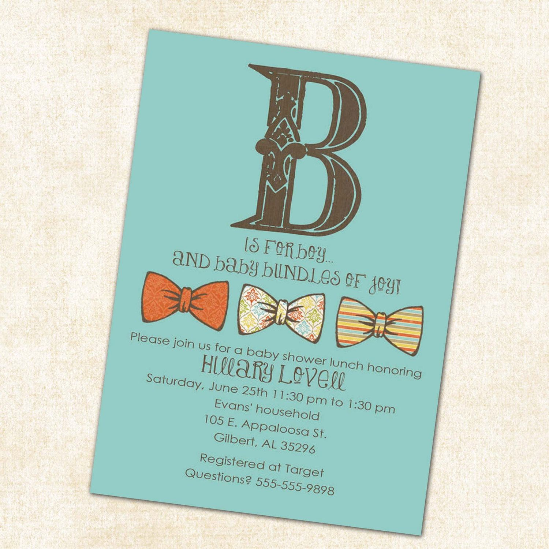 Bow Tie Baby Shower Invitation Little Gentleman Baby Boy Shower Baptism  Christening Couples Shower Bash (item Shabby Chic Invitations