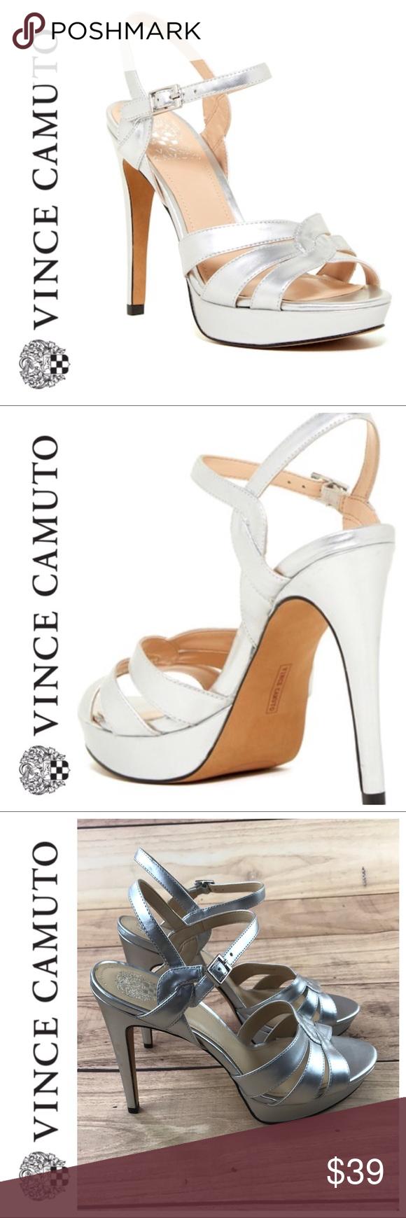 Sale Vince Camuto Silver Jillian Strappy Heels Strappy Heels Clothes Design Fashion