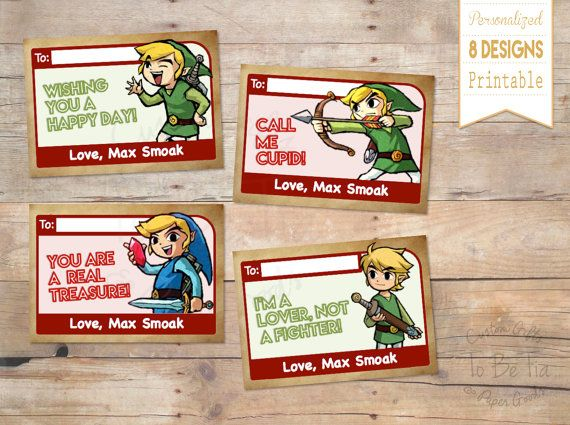 Legend Of Zelda Valentine S Day Cards For Kids By Tobetia On Etsy