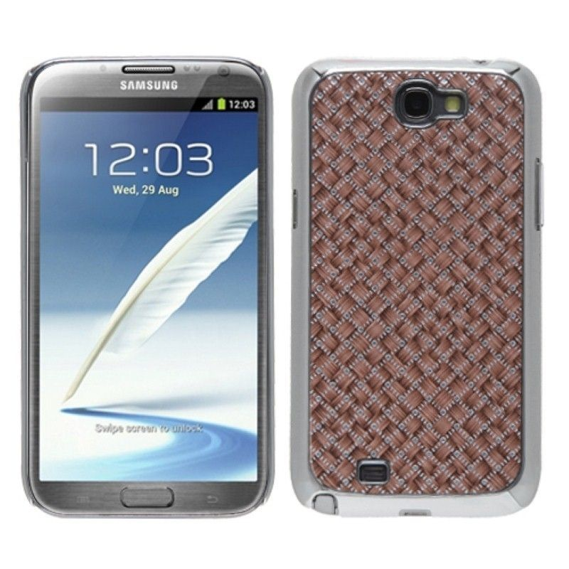 Insten Vermilion Silver Plating Alloy Phone Case Cover for Samsung Galaxy Note II, #1131014