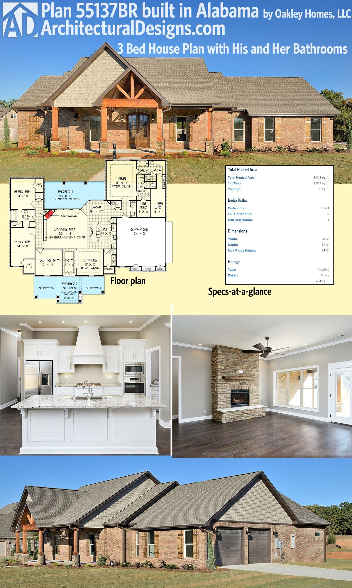 House Plan 55137BR His and Her Bathrooms