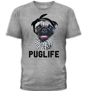 "Men's ""Pug Life'"" Tee by Goodie Two Sleeves (Grey)"