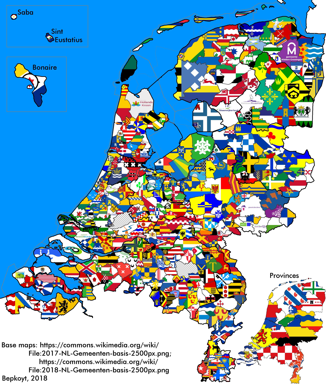Flag map of Dutch municipalities | Nederland | Netherlands map