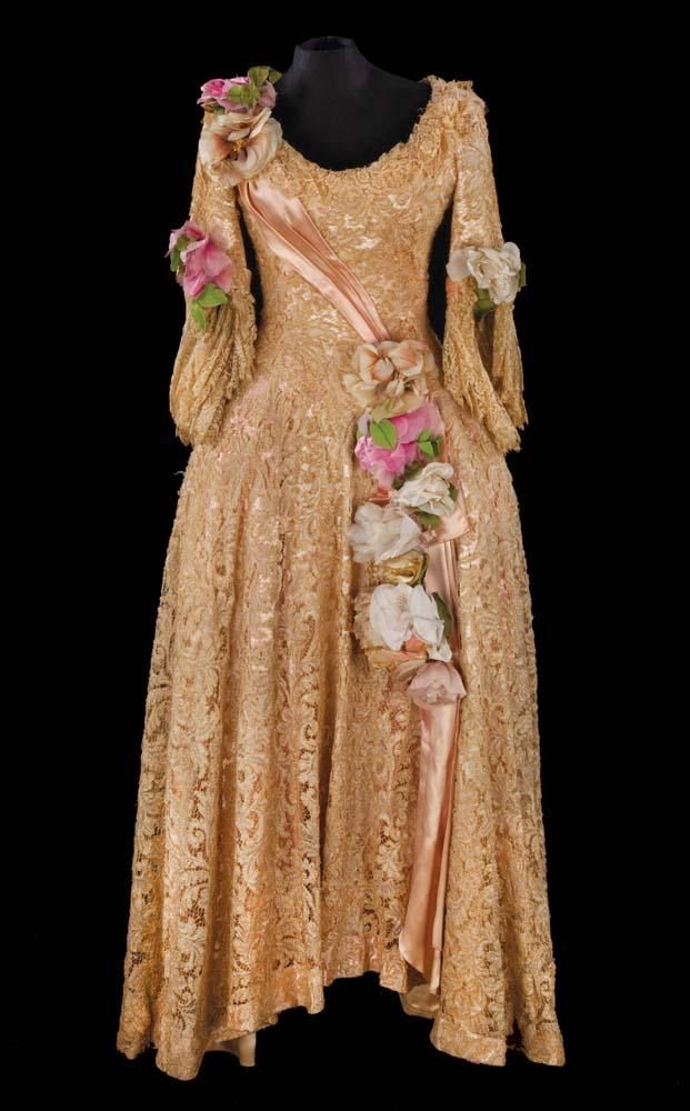lina lamont gold lace dress by walter plunkett from
