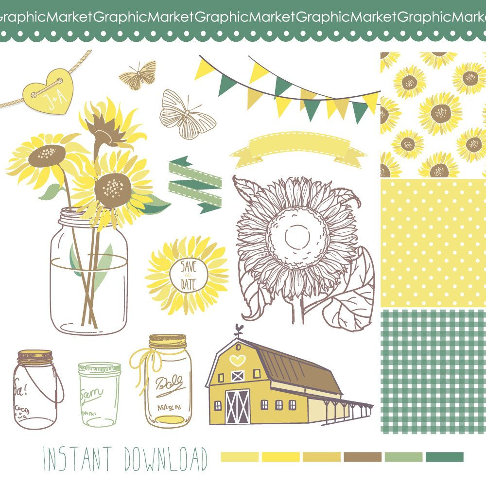 Sunflowers, Mason Jars and digital papers - Clip art for ...