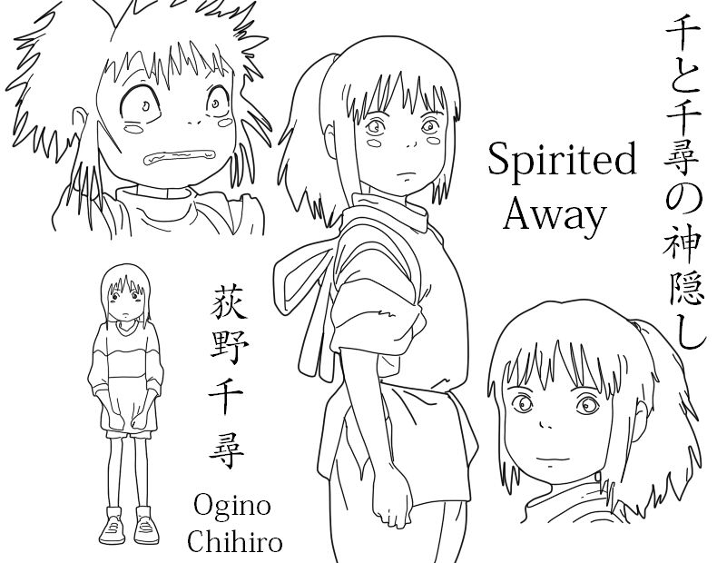 Pin By Ayla Coplan On Hojas Modelo Spirited Away Animated Drawings Coloring Pages