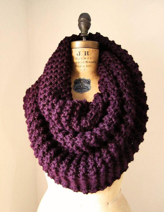 Super Snuggly Chunky knit cowl Plum.   Tejidos   Pinterest   Tejido ...