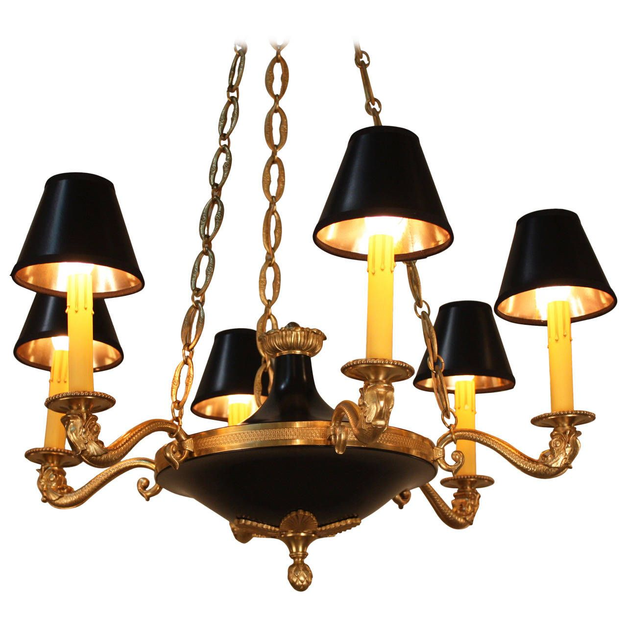 French 1930s Empire Chandelier | From a unique collection of antique and modern chandeliers and pendants  at https://www.1stdibs.com/furniture/lighting/chandeliers-pendant-lights/