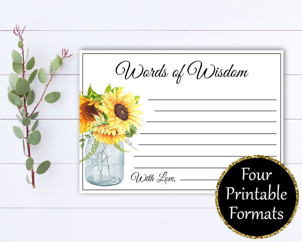 Words of Wisdom Bridal Shower cards - Words of Wisdom Cards - Advice Cards - Baby Shower Games - Printable Words of Wisdom Baby Shower Cards by MintedMemories on Etsy