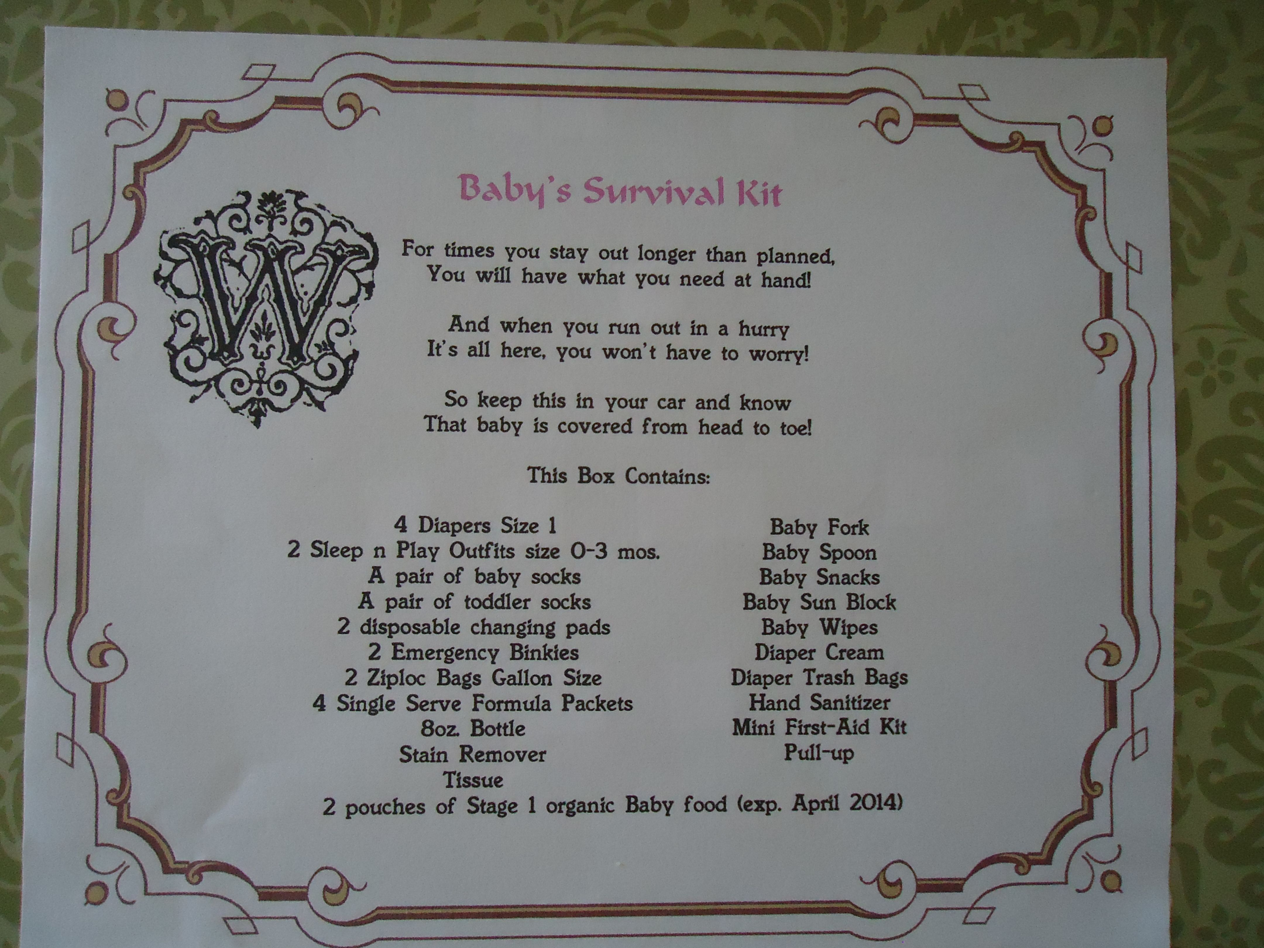 Baby Gift List Poem : Baby survival kit poem and list of possible items to
