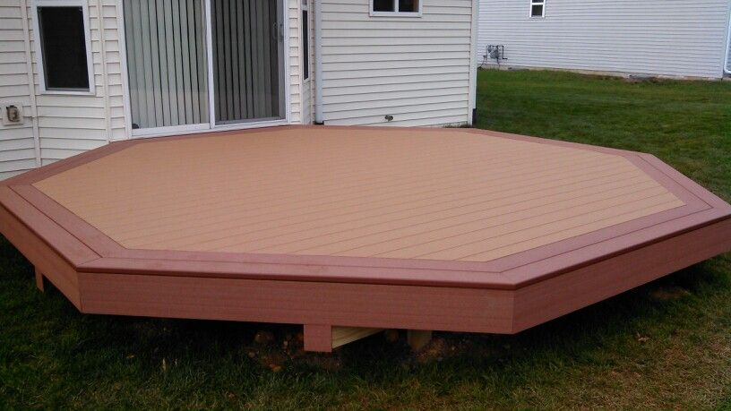 16 Octagon Deck 2 Tone Composite Tongue And Groove With Picture Frame Border Deck Designs Backyard Deck Framing Deck Design