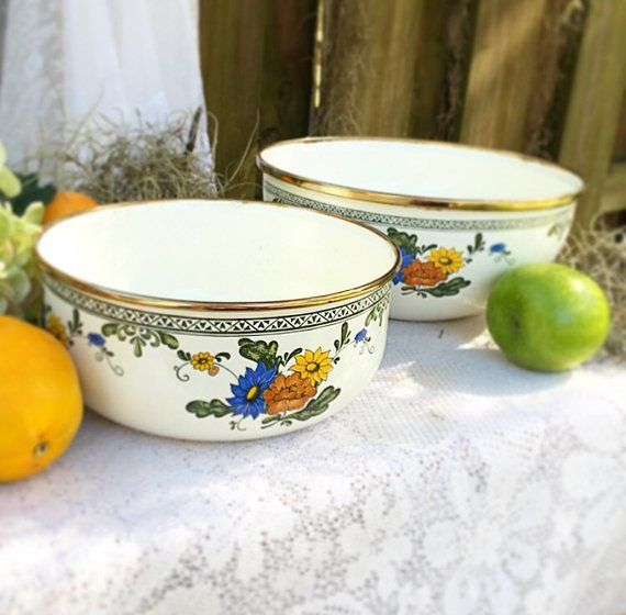 2 Vintage enamel floral nesting mixing / serving bowl. Cooking, kitchen ware, metal bowl, shabby chic. cottage chic with metal rim