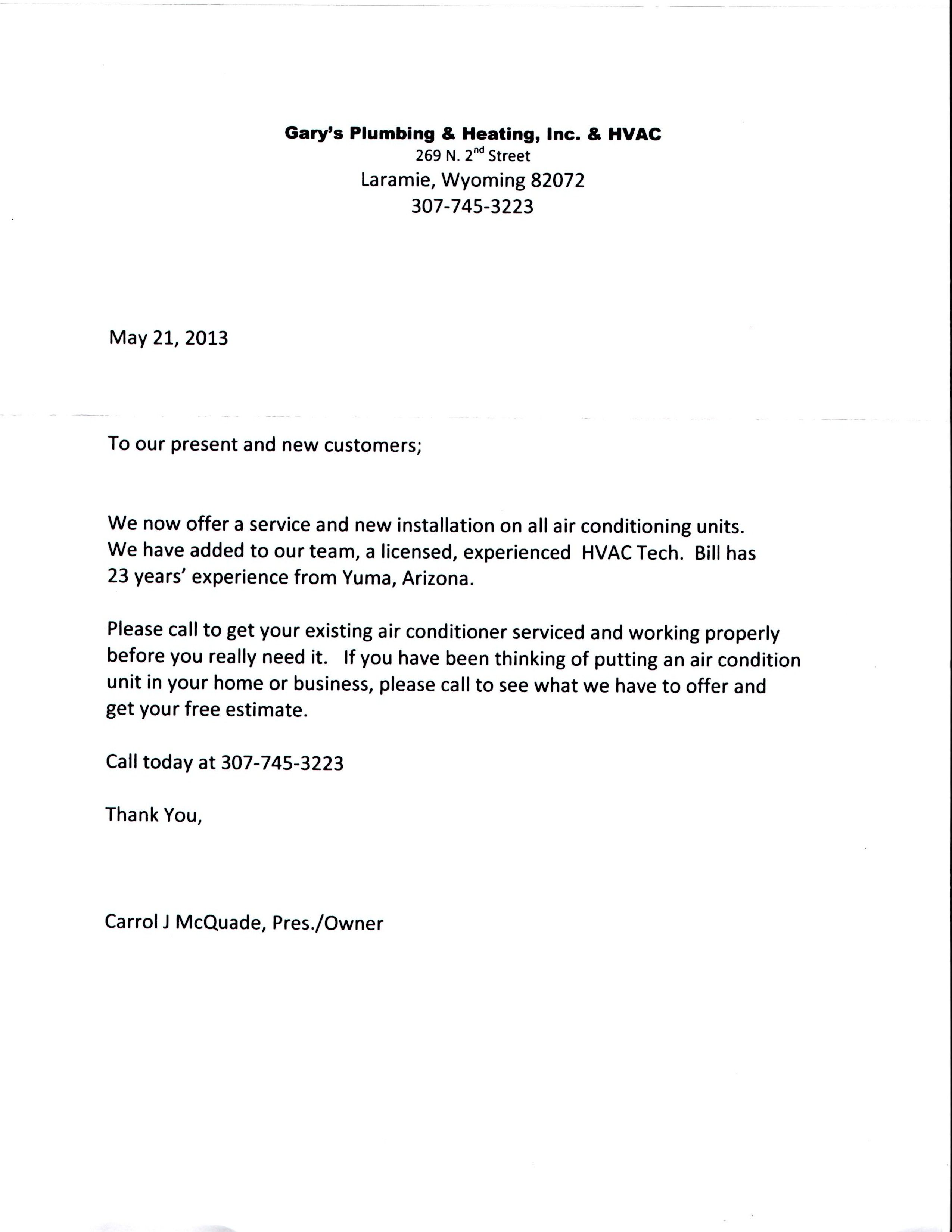 Letter to Customers Bill to the Team! HVAC