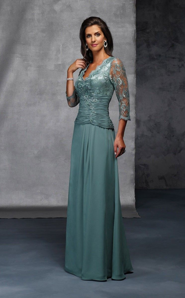 A-Linie/Princess-Stil V-Ausschnitt Chiffon Spitze Kleider für die ...