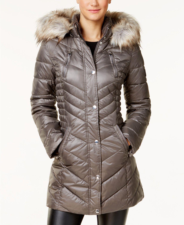 Laundry By Shelli Segal Faux Fur Trim Fleece Lined Puffer Coat