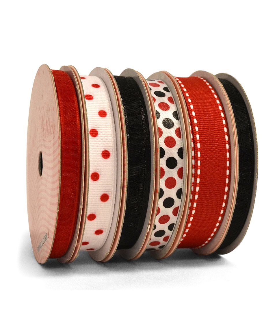 This Red and Black Six-Piece Ribbon Set by Morex Ribbon is perfect! #zulilyfinds