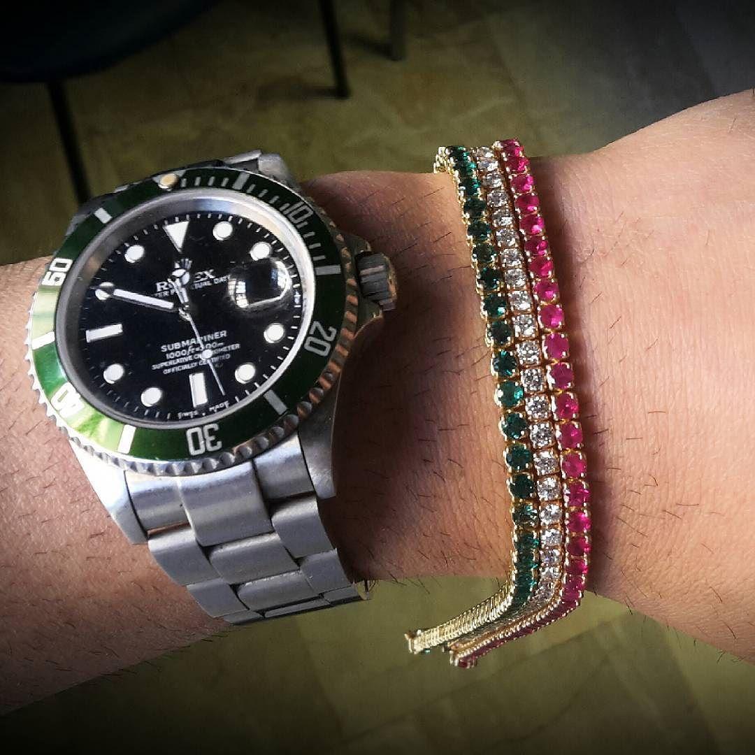 Rolex submariner tennisbracialet gold esmeralds diamonds