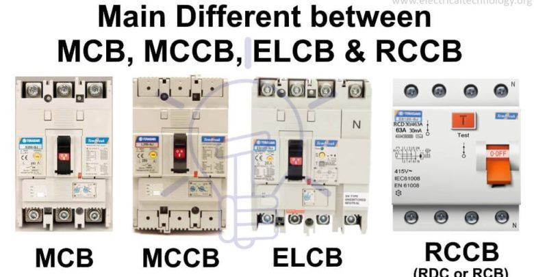 Difference Between Mcb Mccb Elcb And Rcb Rcd Or Rccb Electrical Circuit Diagram Electricity Basic Electrical Wiring