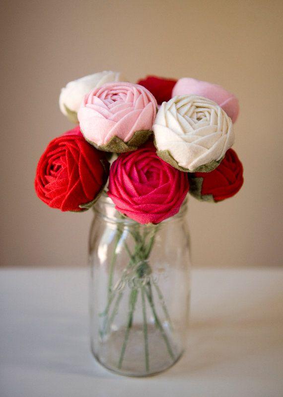 Ready to ship! Ranunculus felt flower - Valentine\'s day gift, flower ...