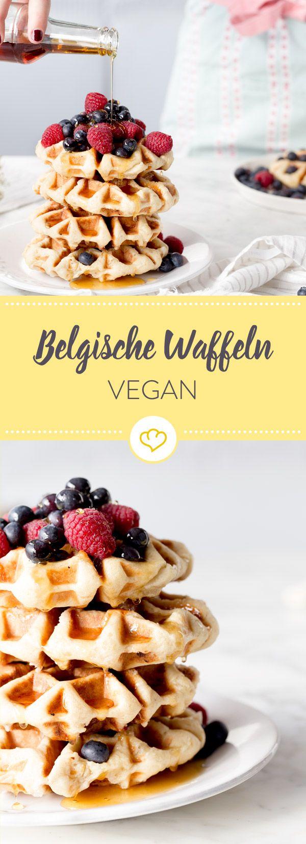 Knusprig, fluffig, zahm: Vegane belgische Waffeln #cakesandcheesecakes