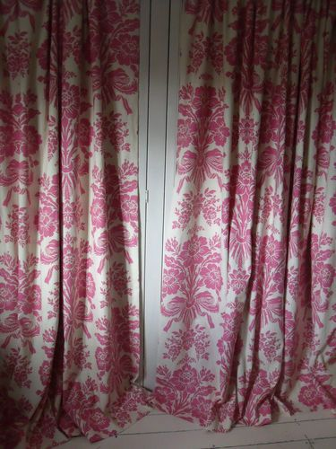 New Curtains Made From Laura Ashley Tatton Cerise Linen Mix Blackout Lined Ebay