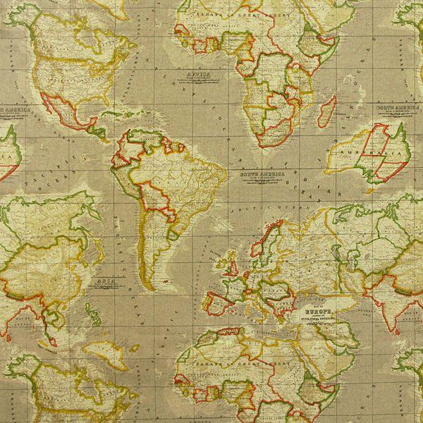 World Map 1 - More Decorator Fabrics - Decorator Fabrics