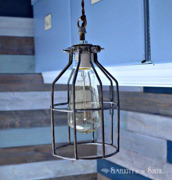 How to make an industrial cage pendant light inspired by for Industrial diy projects