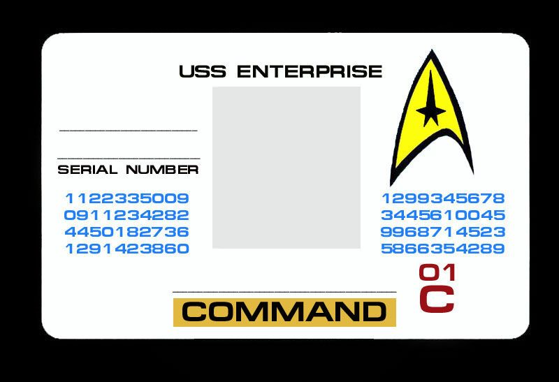 Photoshop your own Starfleet ID card! (Command / yellow shirt version.)