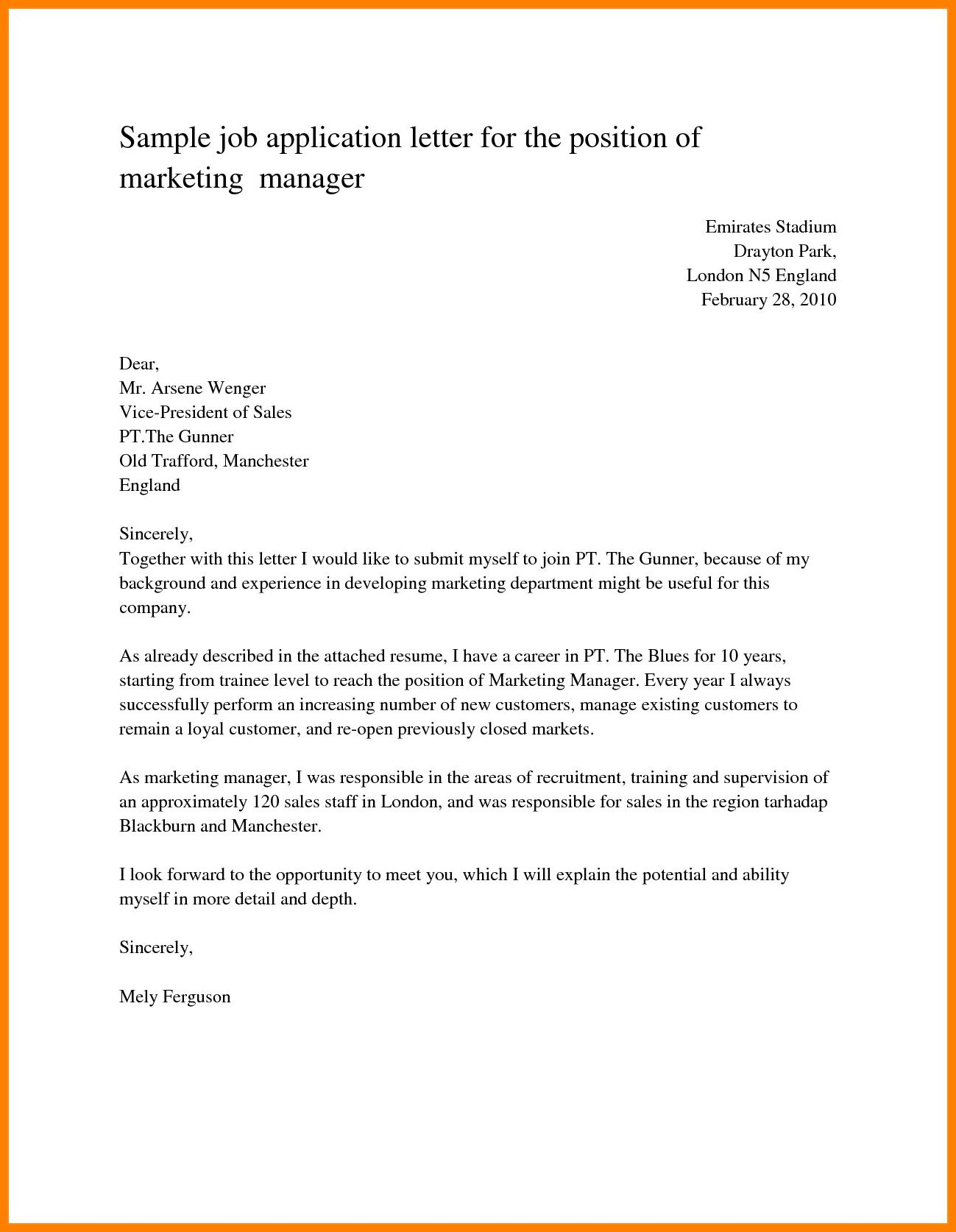 If you folks are looking for a simple cover letter example