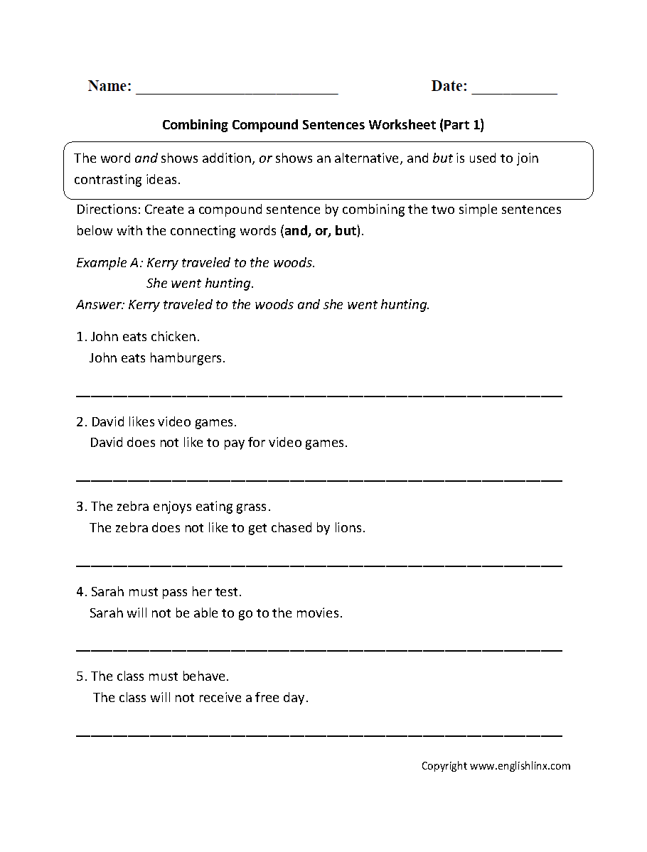 Combining With Compound Sentences Worksheet Part 1 Sentencessimple